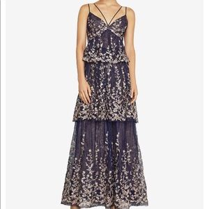 BCBGMAXAZRIA Blue Embroidered Floral Tiered Dress